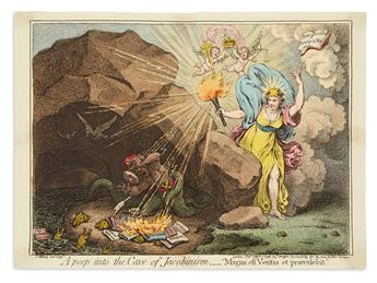 GILLRAY, JAMES. A Peep Into the Cave of Jacobinism.__Magna est Veritas et Praevalebit.