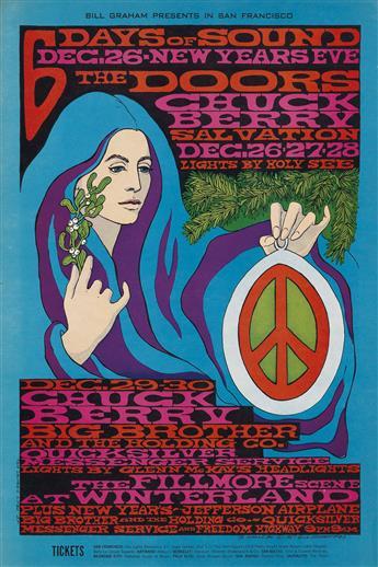BONNIE MACLEAN (1949- ). 6 DAYS OF SOUND / THE DOORS. 1967. 21x14 inches, 53x36 cm. Tea Lautrec Litho., San Francisco.