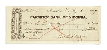 (CIVIL WAR--CONFEDERATE.) Marr, John Quincy. Pair of checks signed by the first Confederate combat casualty.