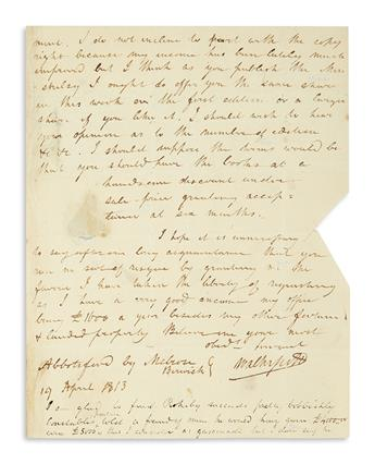 SCOTT, WALTER. Autograph Letter Signed, WalterScott, to publishers Longman & Co.,