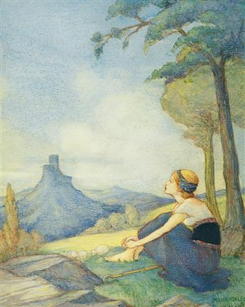 MARGARET RICE OXLEY. Daydreaming Shepherdess.