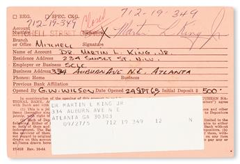 (CIVIL RIGHTS.) KING, MARTIN LUTHER JR. Kings signed Mitchell Street Bank ID card.