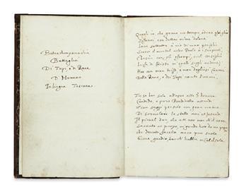 MANUSCRIPT.  Pazzi, Antonio de.  Batrachomyomachia . . . di Homero in lingua Toscana.  Manuscript in Italian on paper.   18th century?