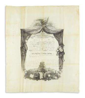 LEE, ROBERT E. Partly-printed vellum Document Signed, RELee, as Superintendent of the United States Military Academy,
