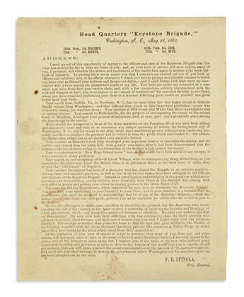 (CIVIL WAR--PENNSYLVANIA.) Spinola, Francis B. Farewell order issued from Head Quarters, Keystone Brigade.