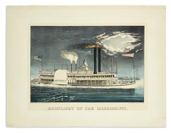 CURRIER & IVES. Moonlight on the Mississippi.