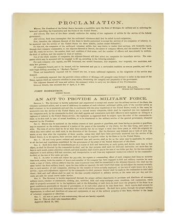 (CIVIL WAR--MICHIGAN.) Blair, Austin. Recruitment proclamation issued 3 days after Fort Sumter.