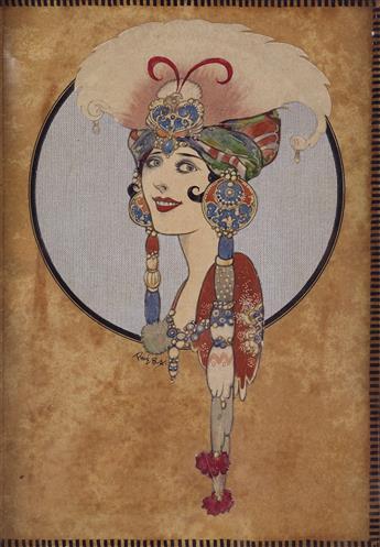 RENÉ BULL. (COSTUME) Woman in fanciful headdress.