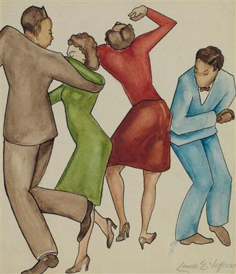 LOUISE E. JEFFERSON (1908 - 2002) Untitled (Dancers).