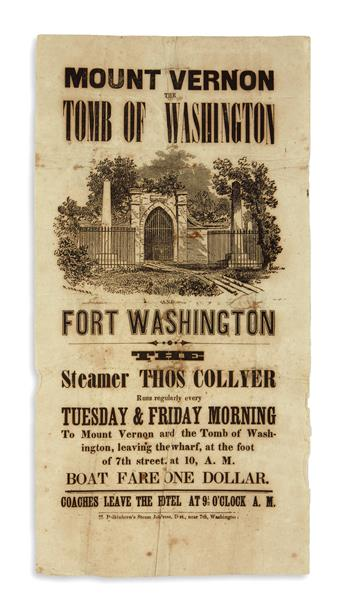 (WASHINGTON, GEORGE.) Mount Vernon, the Tomb of Washington, and Fort Washington: The Steamer Thos. Collyer.