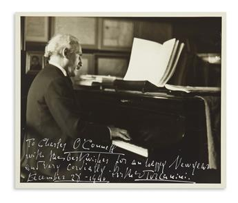 TOSCANINI, ARTURO. Photograph Signed and Inscribed, To Charles OConnell / with the best wishes for an happy New Year,