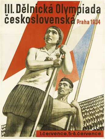 LADISLAV SUTNAR (1897-1976) & AUGUST TSCHINKEL (1905-1983). III. DELNICKA OLYMPIADA CESKOSLOVENSKA. 1934. 49x37 inches, 125x94 cm. F. B