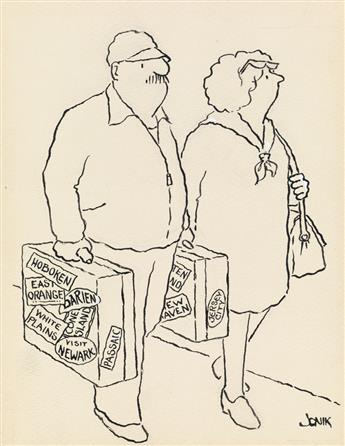 (THE NEW YORKER. TRAVEL. REPUBLICAN. DEATH.)  JOHN JONIK. Group of 3 cartoons.