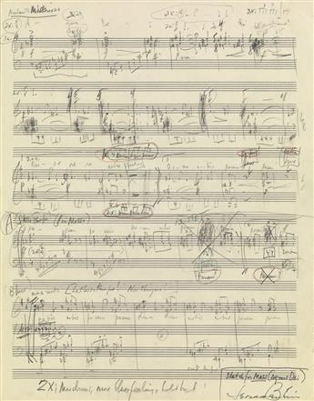 BERNSTEIN, LEONARD. Autograph Musical Manuscript Signed, sketch for the Agnus Dei movement from his Mass,