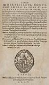 LIVRE MERVEILLEUX, contenant . . . .de plusieurs traittez . . . faisant mention de tous les faictz de lEglise universelle.  1565