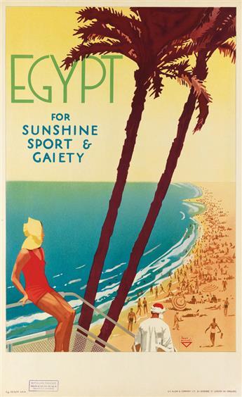 IHAP HULUSI GÖREY (1898-1986). EGYPT FOR SUNSHINE SPORT & GAIETY. Circa 1937. 39x24 inches, 99x62 cm. S.C. Allen & Company Ltd., London