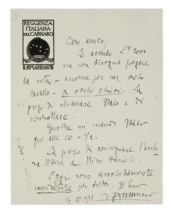 DANNUNZIO, GABRIELE. Group of 8 Autograph Letters Signed, to his secretary Giuseppe Bonaspetti, in Italian,
