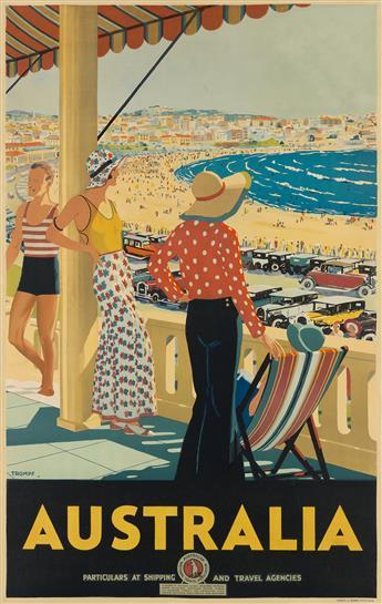 PERCIVAL (PERCY) ALBERT TROMPF (1902-1964). AUSTRALIA. 1929. 39x25 inches, 101x63 cm. Troedel & Cooper Pty., Ltd., Melbourne.