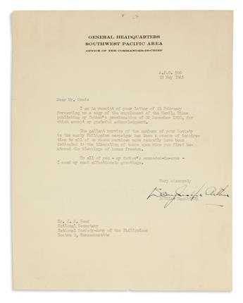 MACARTHUR, DOUGLAS. Typed Letter Signed, to National Secretary of the National Society-Army of the Philippines J.S. Wood,