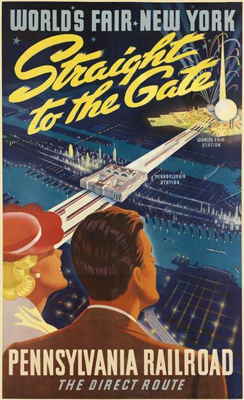 SASCHA MAURER (1897-1961). WORLDS FAIR NEW YORK / STRAIGHT TO THE GATE / PENNSYLVANIA RAILROAD. 1939. 40x25 inches, 102x63 cm.