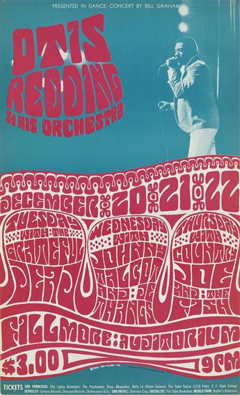 WES WILSON (1937- ). [PSYCHEDELIC ROCK CONCERTS.] Group of 5 posters. 1966-1967. Sizes vary, each approximately 22x14 inches, 57x35 cm.