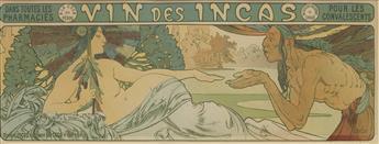 ALPHONSE MUCHA (1860-1939). VIN DES INCAS. 1897. 5x14 inches, 14x36 cm.