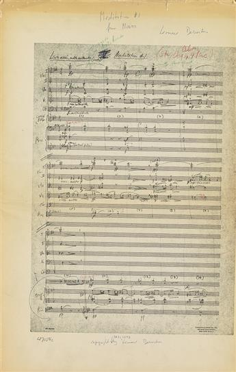 BERNSTEIN, LEONARD. Printed score for Two Meditations from Mass for orchestra, Signed thrice, in ink or pencil, with numerous holograph