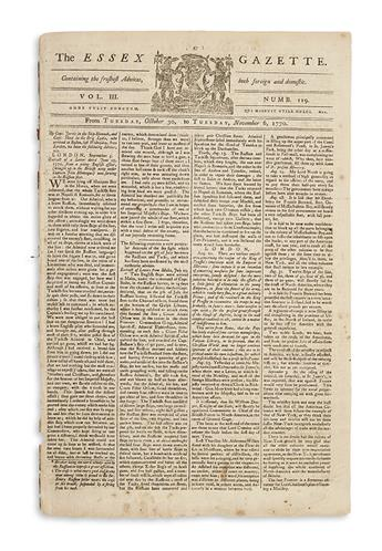 (AMERICAN REVOLUTION--PRELUDE.) An issue of the Essex Gazette with coverage of the trial of Captain Preston for the Boston Massacre.