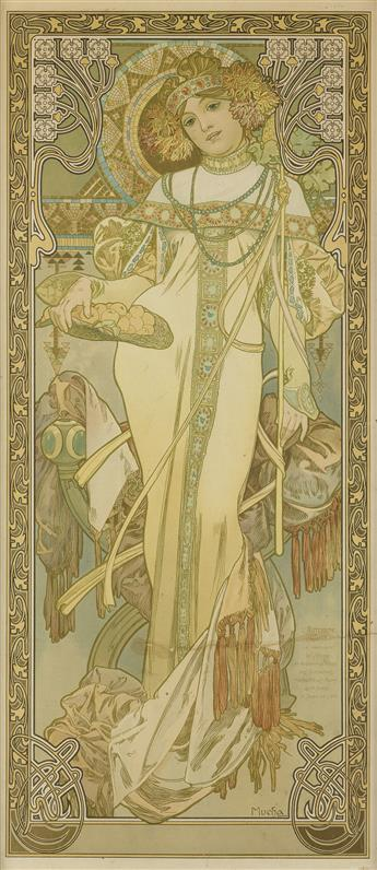 ALPHONSE MUCHA (1860-1939). [THE SEASONS / LAUTUMNE.] 1900. 29x13 inches, 73x33 cm. F. Champenois, Paris.