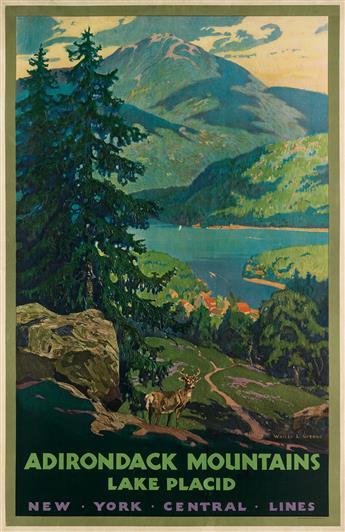 WALTER L. GREENE (1870-1956). ADIRONDACK MOUNTAINS / LAKE PLACID. Circa 1935. 40x26 inches, 101x66 cm. Latham Litho & Ptg. Co., Long Is