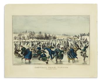 CURRIER & IVES. Central Park, Winter. The Skating Carnival.