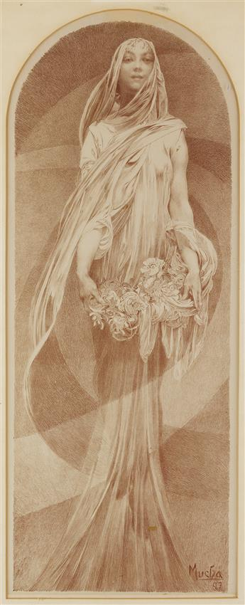 ALPHONSE MUCHA (1860-1939). [LANNÉE QUI VENT / THE COMING YEAR.] 1897. 28x13 inches, 71x35 cm. F. Champenois, Paris.