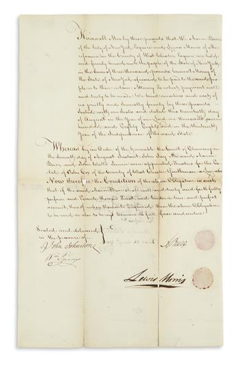 BURR, AARON. Document Signed, A. Burr, a bond for him and Lewis Morris in the amount of £3,000 to the state of New York.