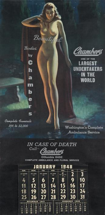 ART FRAHM (1907-1981). BEAUTIFUL BODIES BY CHAMBERS. Poster calendar. 1948. 45x21 inches, 114x55 cm.
