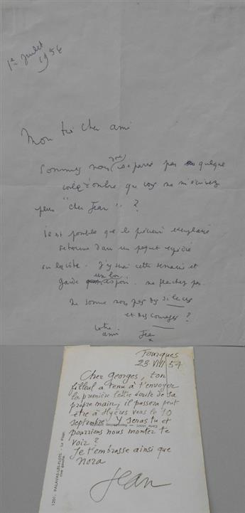 COCTEAU, JEAN. Two items, each Signed, Jean, to Dear Georges [Auric] or My very dear friend, in French: Autograph Postcard * Auto