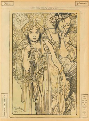 ALPHONSE MUCHA (1860-1939). FRIENDSHIP / NEW YORK DAILY NEWS. April 3, 1904. 20x15 inches, 52x38 cm.