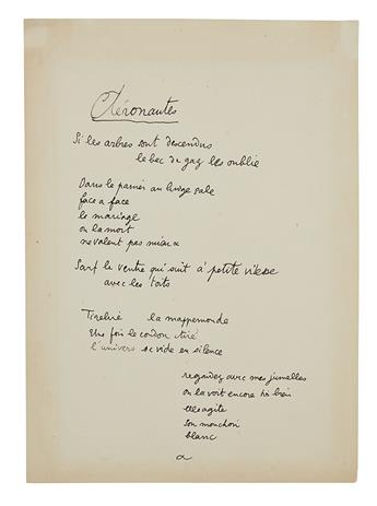 COCTEAU, JEAN. Autograph Manuscript, unsigned, fair copy of his poem Aéronautes, in French, 17 lines beginning