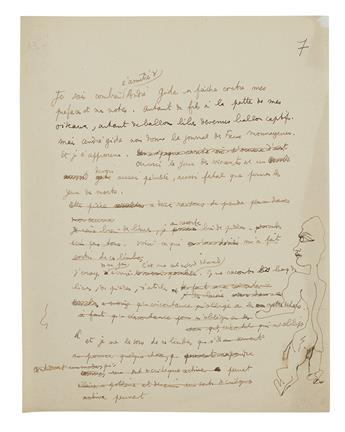 COCTEAU, JEAN. Autograph Manuscript, unsigned, fragment of an unnamed essay, in French, with a small ink drawing in right margin.