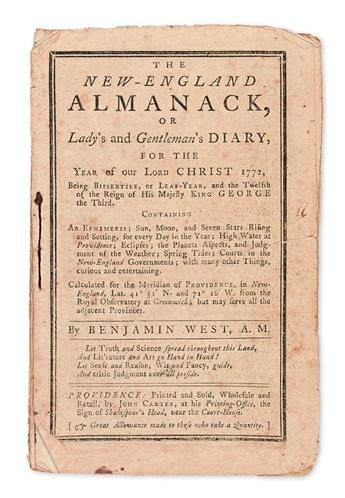 (ALMANACS.) West, Benjamin. Group of 3 Providence almanacs, one of them denouncing the Stamp Act.