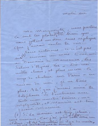 COLETTE, SIDONIE GABRIELLE. Autograph Letter Signed, Colette, to My Marguerite, in French,
