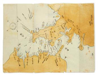 (JAPAN -- PERRY.) Color woodblock map of Uraga and Edo Bay showing the course of Commodore Perrys Black Ship squadron.
