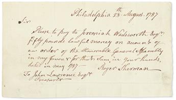 SHERMAN, ROGER. Autograph Document Signed, to Connecticut Treasurer John Lawrence,