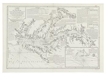 SARTINE, ANTOINE RAYMOND de. Carte de la Baie de Chesapeake et de la Partie navigable des Rivieres, James, York, Patowmack, Patuxeo,