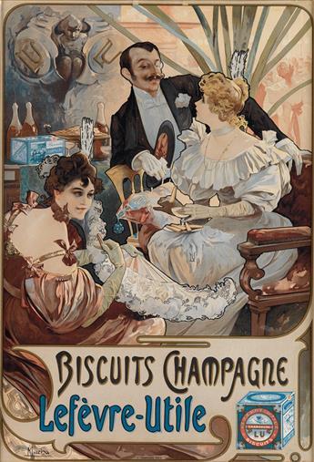ALPHONSE MUCHA (1860-1939). BISCUITS CHAMPAGNE / LEFÈVRE - UTILE. 1896. 20x13 inches, 51x35 cm. F. Champenois, Paris.