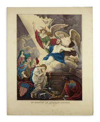 (PRINTS--MEMORIAL.) Wiest, D.T.; artist and engraver. In Memory of Abraham Lincoln, the Reward of the Just.