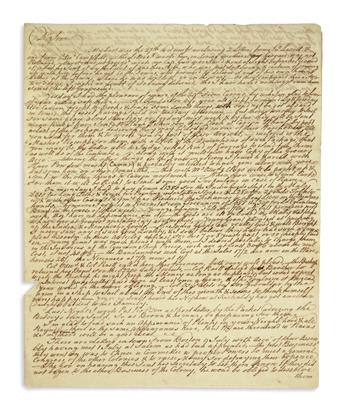 (AMERICAN REVOLUTION--PRELUDE.) Herries, Michael. Letter offering fresh intelligence on the Continental Congress.
