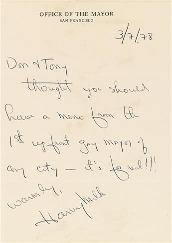 HARVEY MILK (1930-1978)  Autograph Letter Signed, as Acting Mayor of San Francisco, to Don Amador and Tony Karnes (Don & Tony).