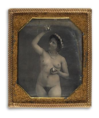 (NUDE) Hand-tinted sixth-plate daguerreotype of a nude, who is wearing a gilt-highlighted strand of pearls, a garland, and posing with