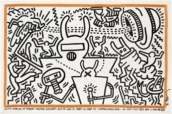KEITH HARING (1958-1990). KEITH HARING AT ROBERT FRASER GALLERY. 1983. 26x40 inches, 67x101 cm.