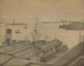 REGINALD MARSH New York Harbor and the Statue of Liberty from Brooklyn.